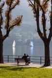 MEER COMO, ITALY/EUROPE - 29 OKTOBER: Meer Como in Lecco in Ita stock afbeelding
