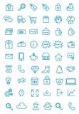 Meer dan vijftig Lijnweb, bureau, en bedrijfspictogrampak vector illustratie