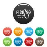 Meer de pictogrammen van de visserijhaak geplaatst kleur stock illustratie