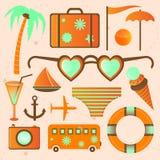 Meer de zomer vectorpictogrammen Stock Afbeeldingen
