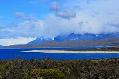Meer dichtbij Torres del Paine National Park in Patagonië, Chili Royalty-vrije Stock Foto