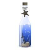 Meer in einem Flaschenvektor und -ikone Stockfotografie