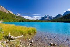 Meer en bergen, Alberta, Canada stock foto