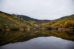 Meer en bezinningen in het donkere water in de herfst met kleurrijke bomen royalty-vrije stock afbeeldingen
