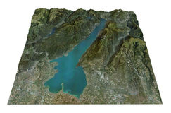 Meer Garda, luchtmening, kaart, Lombardia Veneto Italië Stock Afbeeldingen