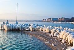 Meer Genève in de Winter Royalty-vrije Stock Afbeeldingen