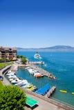 Meer Genève, haven Heilige Gingolph royalty-vrije stock fotografie