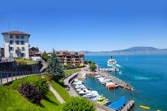 Meer Genève, Heilige Gingolph stock afbeelding