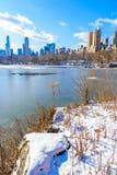 Meer in het Central Park van de Stad van New York in de winterlandschap, de V.S. royalty-vrije stock fotografie