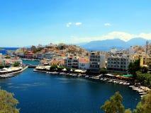 Meer in het centrum van Agios Nikolaos royalty-vrije stock afbeelding