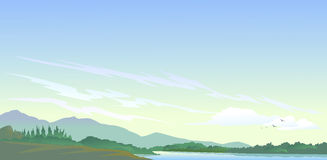 Meer, heuvels en van de aard schoonheid Stock Foto