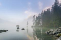 Meer Hintersee met mist Stock Foto's