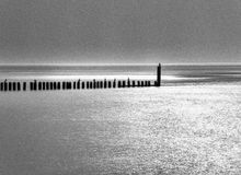Meer im black&white stockfoto