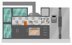 Meer interier keuken Meubilair en ijskast in een vlakke stijl Stock Foto