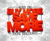 Meer kortingen nu, kopen meer sparen meer royalty-vrije illustratie