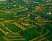 Meer landbouwbedrijven en gebieden van lancaster stock foto