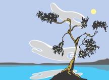 Meer met boom en wolken Royalty-vrije Stock Afbeeldingen