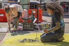 Meer met een waarde van, Florida, de V.S. die Fab 23-24, de 25Th Jaarlijkse Straat van 2019 Fest schilderen stock fotografie