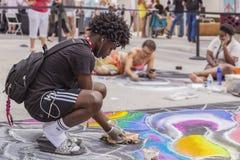 Meer met een waarde van, Florida, de V.S. die Fab 23-24, de 25Th Jaarlijkse Straat van 2019 Fest schilderen stock foto's