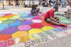 Meer met een waarde van, Florida, de V.S. die Fab 23-24, de 25Th Jaarlijkse Straat van 2019 Fest schilderen royalty-vrije stock afbeelding