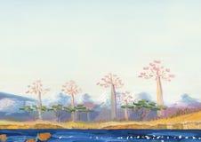 Meer met tropische bomen op de kust royalty-vrije illustratie