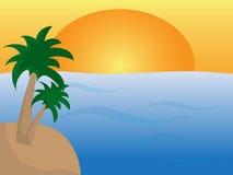 Meer mit Insel mit Palmen und Sonne stockbilder