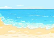 Meer Mit Wellen Und Sandy Beach Stockbild