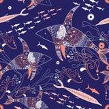 Meer?? Muster mit Haifischen Stockfotografie