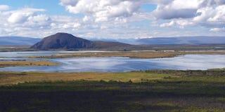 Meer Myvatn, noordelijk IJsland Stock Afbeeldingen