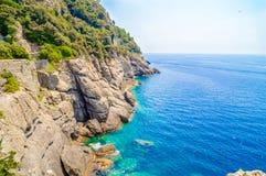 Meer oder Ozean schaukelt Küstenlinienklippe und das blaue Meerwasser Lizenzfreie Stockbilder
