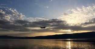 Meer Ohrid, de Republiek van Macedonië van, zonsondergang Royalty-vrije Stock Fotografie