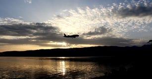 Meer Ohrid, de Republiek van Macedonië van, zonsondergang Royalty-vrije Stock Foto's