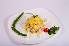 Meer olivier de salade is verfraaid in de vorm van zon Royalty-vrije Stock Foto's