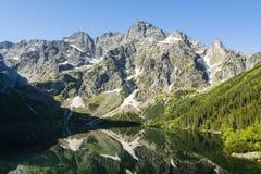 Meer Overzees Oog Morskie Oko en de omringende bergpieken Royalty-vrije Stock Foto