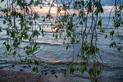 Meer Peipus bij zonsopgang Royalty-vrije Stock Afbeeldingen