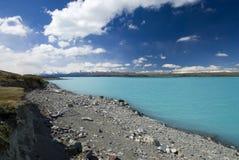 Meer Pukaki, gletsjerwater, laag meerniveau, Nieuw Zeeland Royalty-vrije Stock Afbeelding