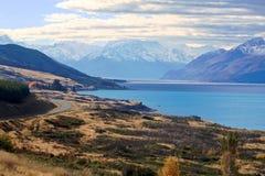 Meer Pukaki, Zuideneiland Nieuw Zeeland Stock Fotografie