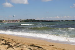 Meer, Sand, Welle, Jahr 2014 Lizenzfreies Stockbild