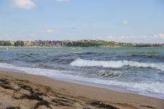 Meer, Sand, Welle, Jahr 2014 Lizenzfreie Stockfotos