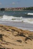 Meer, Sand, Welle, Jahr 2014 Stockbild