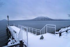 Meer Shikotsu in de winter Royalty-vrije Stock Foto