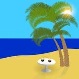 Meer, Sonne, Sand auf exotischen Inseln, schöner Feiertag im Schatten von Palmen Abbildung Stockbild