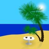 Meer, Sonne, Sand, ein schöner Feiertag im Schatten von Palmen Abbildung Stockfotos