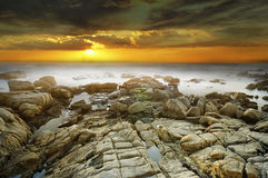 Meer am Sonnenuntergang Stockfotos