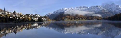 Meer St Moritz in de herfst Stock Afbeelding