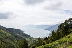 Meer toba in het Noorden Sumatra, Indonesië stock foto's