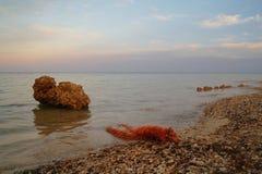 Meer und Felsen am Sonnenuntergang Rotes Meer, Ägypten lizenzfreies stockbild
