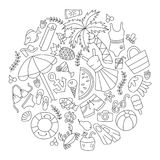 Meer und Sommer Satz Elemente in der Gekritzel- und Karikaturart umreiß Vektor Lizenzfreie Stockfotografie