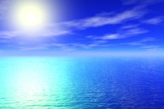 Meer und sonniger Himmelhintergrund Stockfotos