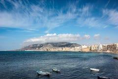 Meer und Teil der Stadt Sizilien - Erice und Trapani stockbilder